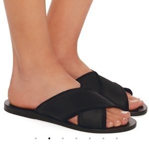 Ancient Greek Thais Satin Slides Black